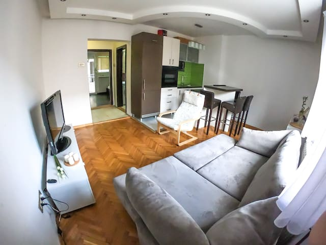 Living room with built in kitchen and counter top which serves as dining area perfect for fast meals or drinks.