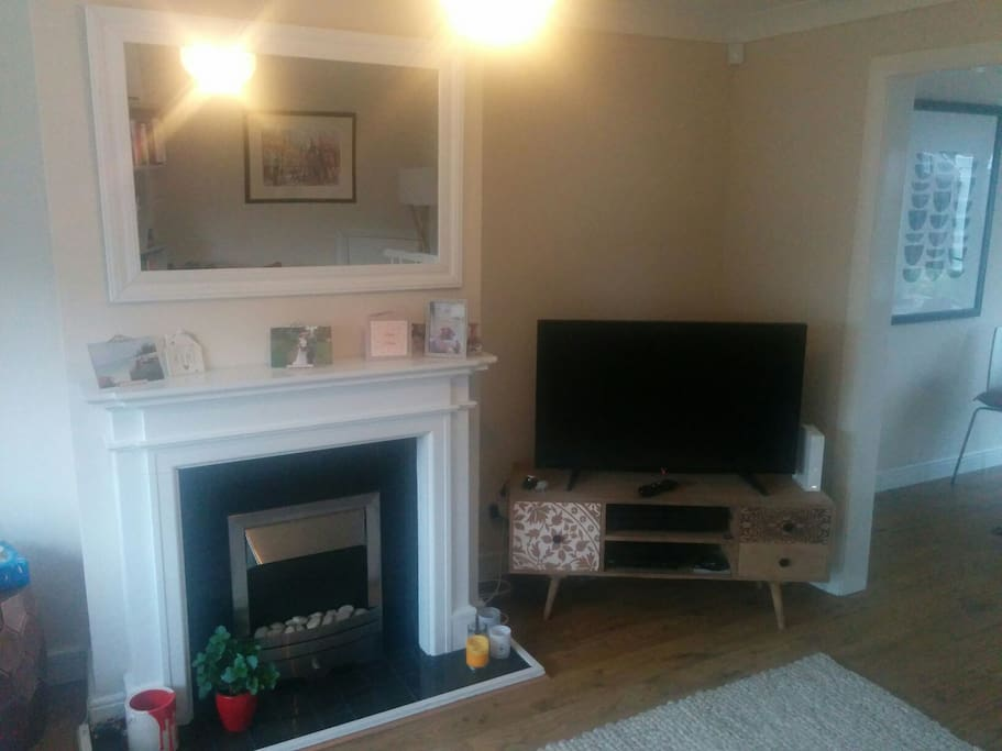 fire place and TV.....cosy