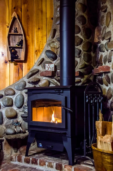 The Wood Burning stove in the living room provides ample heat and you'll love its ambiance!