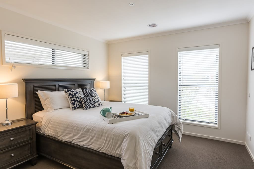 The master bedroom is a serene retreat, with ensuite.