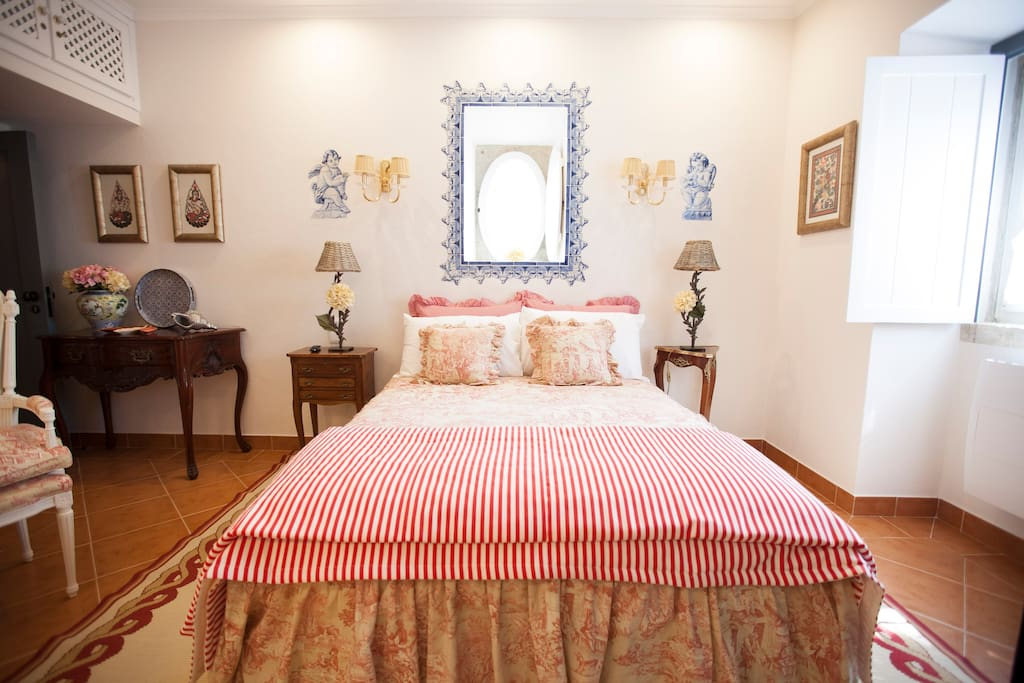 The Hydrangeas Room - A View of the double with classic french bedspread pattern