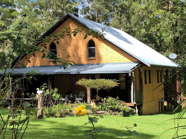 Our beautiful homestead is made from mud bricks sourced from Bellingen and is situated on 6 acres of natural bushland. The homestead is surrounded by 2 acres of dog proof fencing and inside is a relaxing and cosy environment.