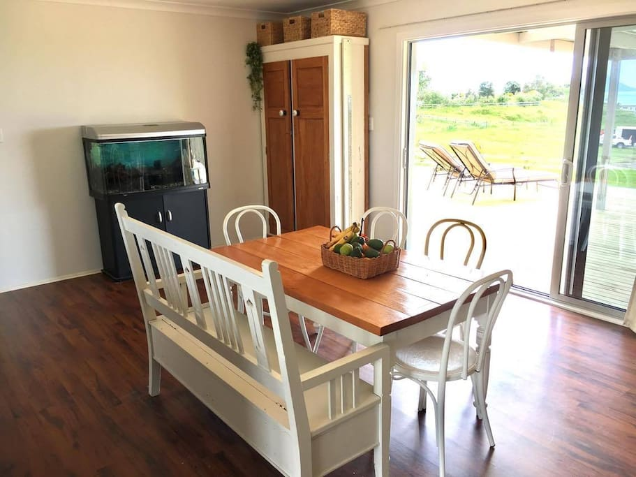 Dining Area (adjoined to the kitchen) with a view out to the Pacific Ocean, Whale and White Island
