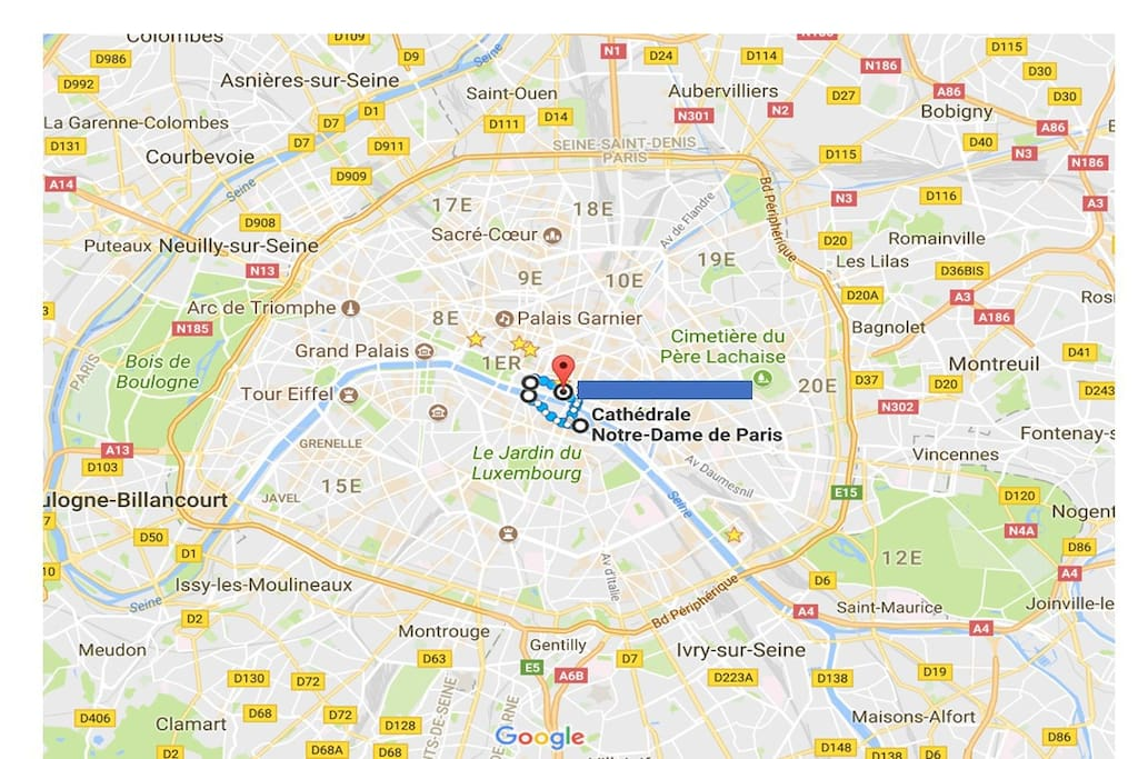 The flat is in the Paris city center (historical).