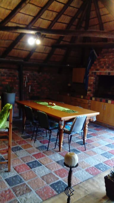 Thatched lapa with built in braai, bar. With pool table & bar fridge.