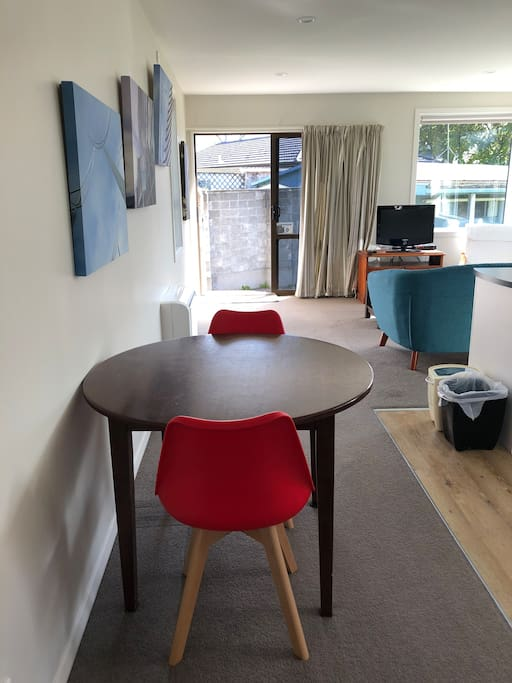 Small table could be used as a desk to work from.
