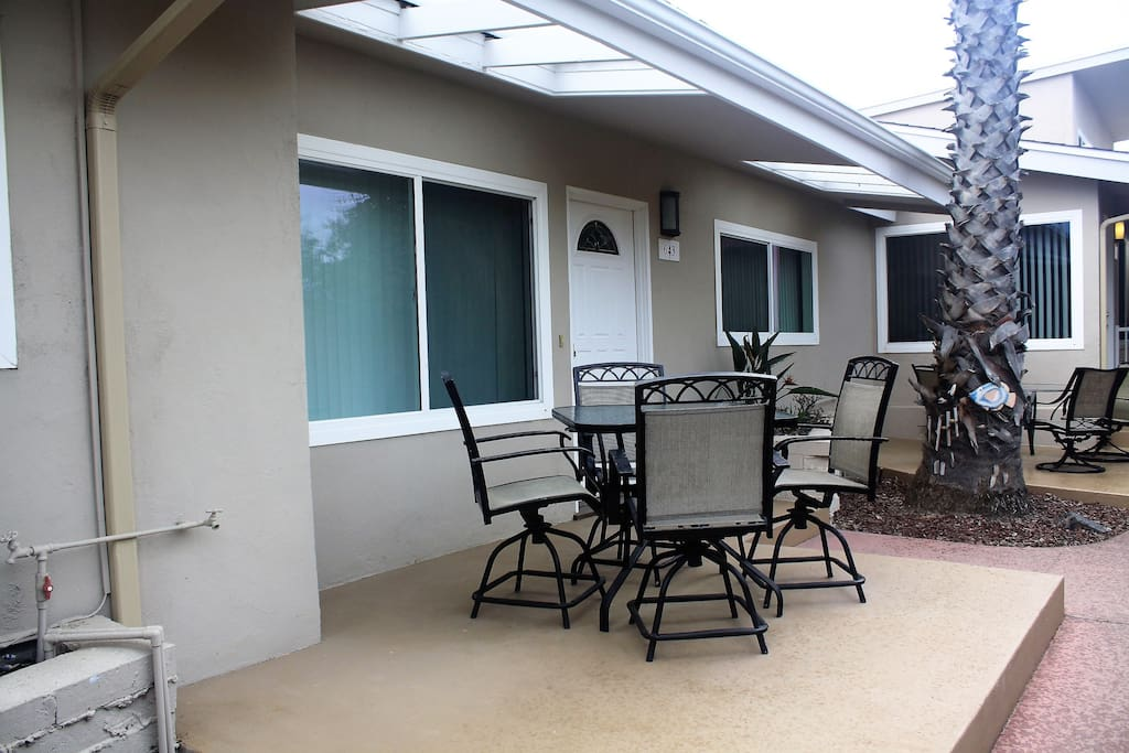 Right outside your front door you can enjoy breakfast outside at your own outdoor table and enjoy that morning sun.