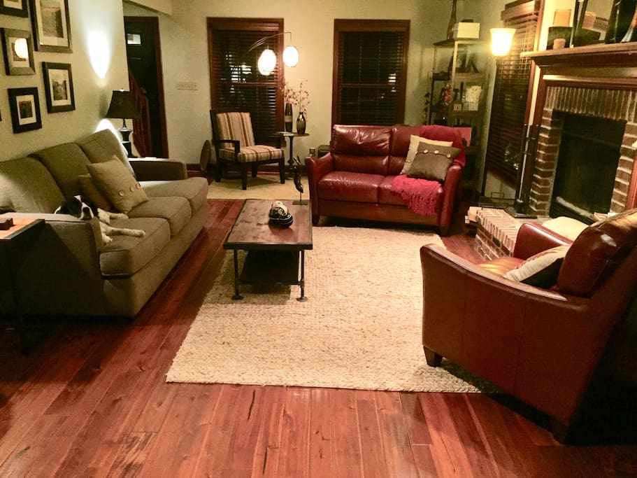 Living room with wood burning fireplace, 60 HD TV - Blue Ray with 100's of Blue Ray movies!