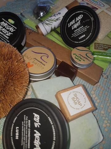 Shampoo and eco products provided, including bamboo toothbrush
