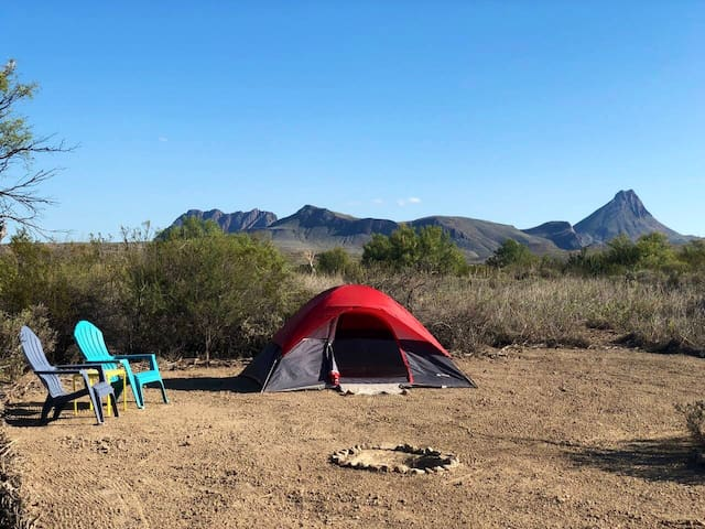 The Cosmic Campsite has a great view of the Corazones Peaks Mountain Range pictured here.