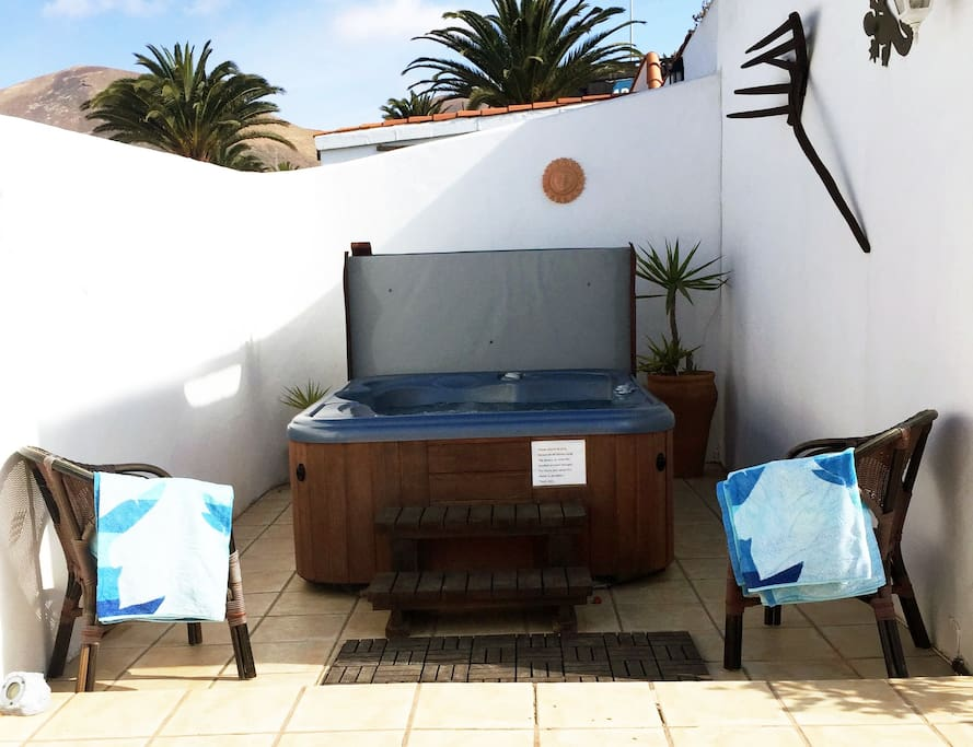 Jacuzzi for your  use only , situated on your private terrace, (beach towels provided.)