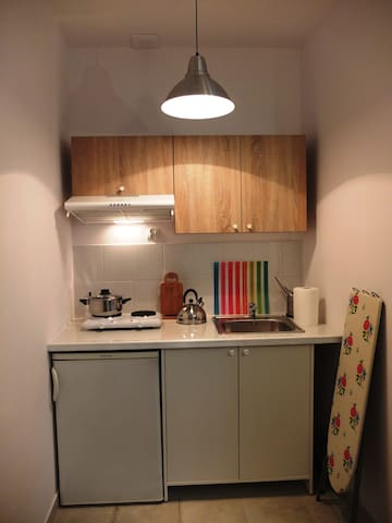 Open kitchen with fridge