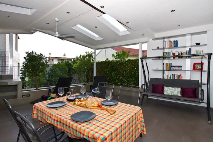 Dining area with indoor fireplace