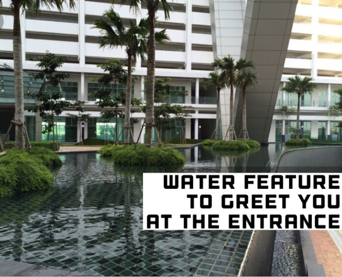 Reflecting water feature with tropical trees to welcome you at the building entrance