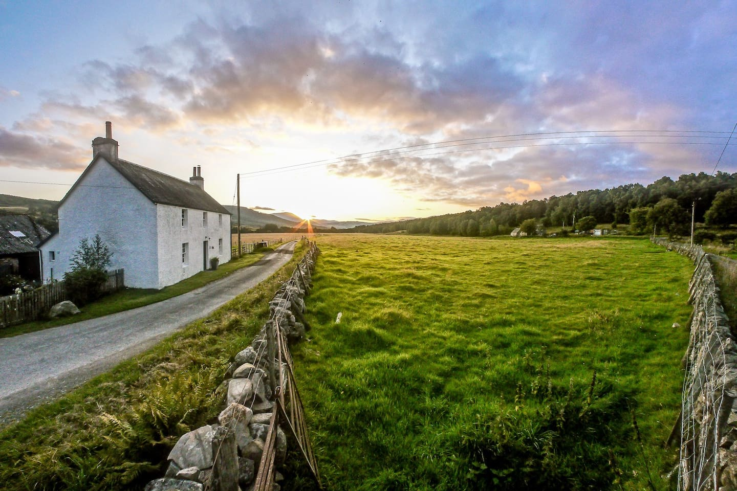 The Tranquil Scottish Farmhouse at sunrise.