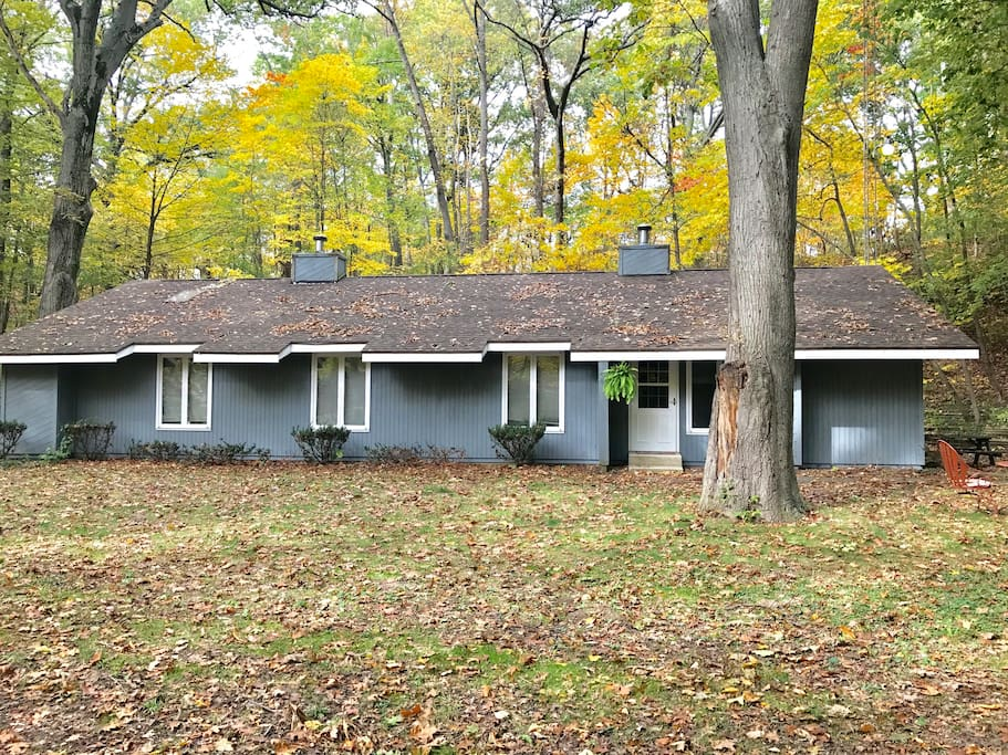 Exterior .- sits on 1 private acre; flat grass area perfect for yard games