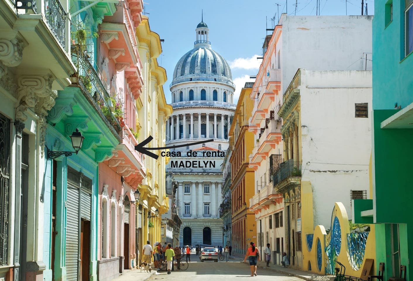 Photo of my apartment on the first floor and at the end of the street Cuban Parlament- Capitolio