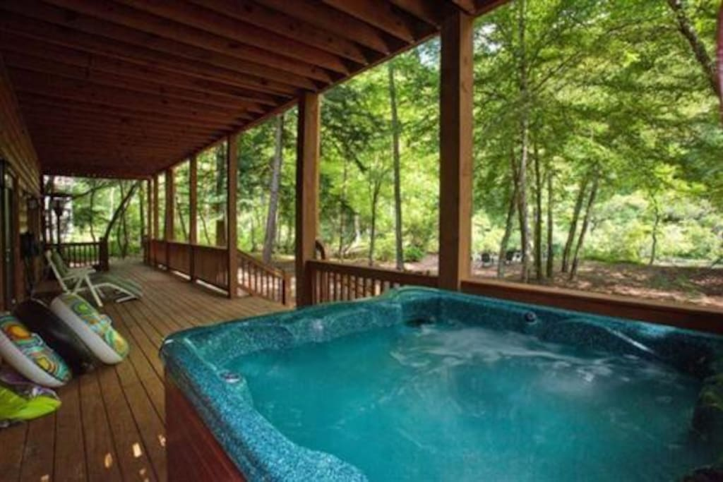 View of the Cartecay River from the hot tub