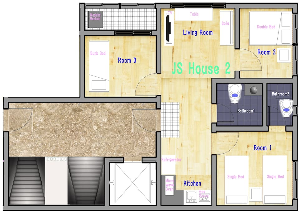 Plane map of JS House 2