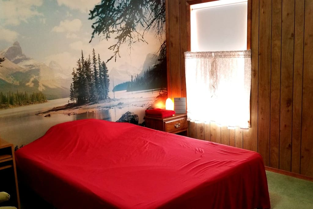 Queen Size bed w/memory foam mattress, lakeside mural, and nightstand w/pink Himalayan salt lamp.