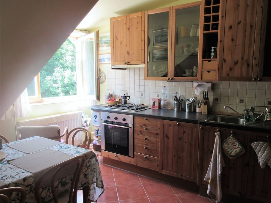 Comfortable, fully furnished kitchen. You can easily prepare here your food using our utensils.