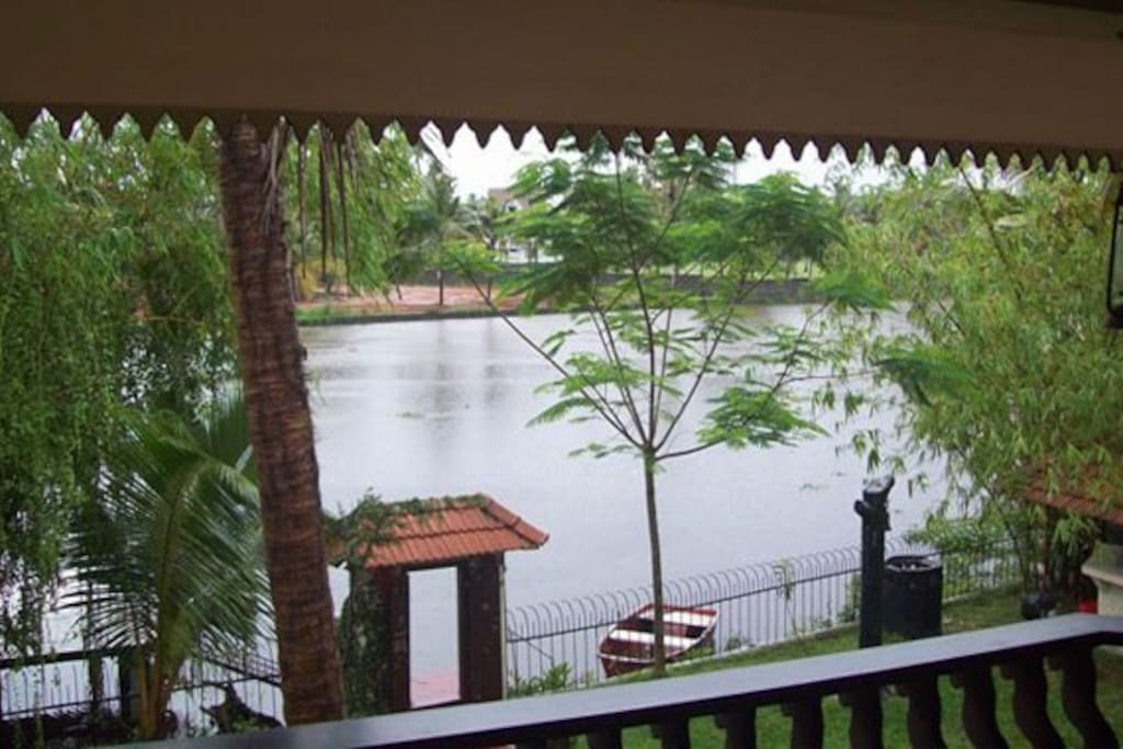 View from the private sit out of the room to the backwaters