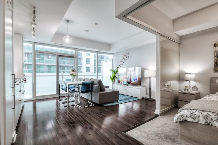 Brand new downtown condo in sky w large balcony