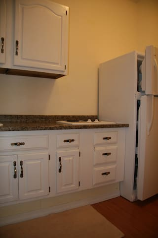 Kitchen with fridge & cooking basics, 2 stoves, no oven.