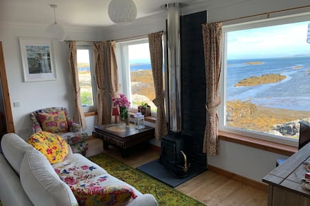 Hebridean cottage on the seashore.