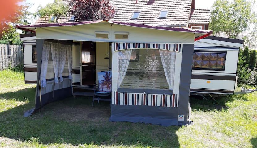 camping trailer close to nudist beach in Berlin