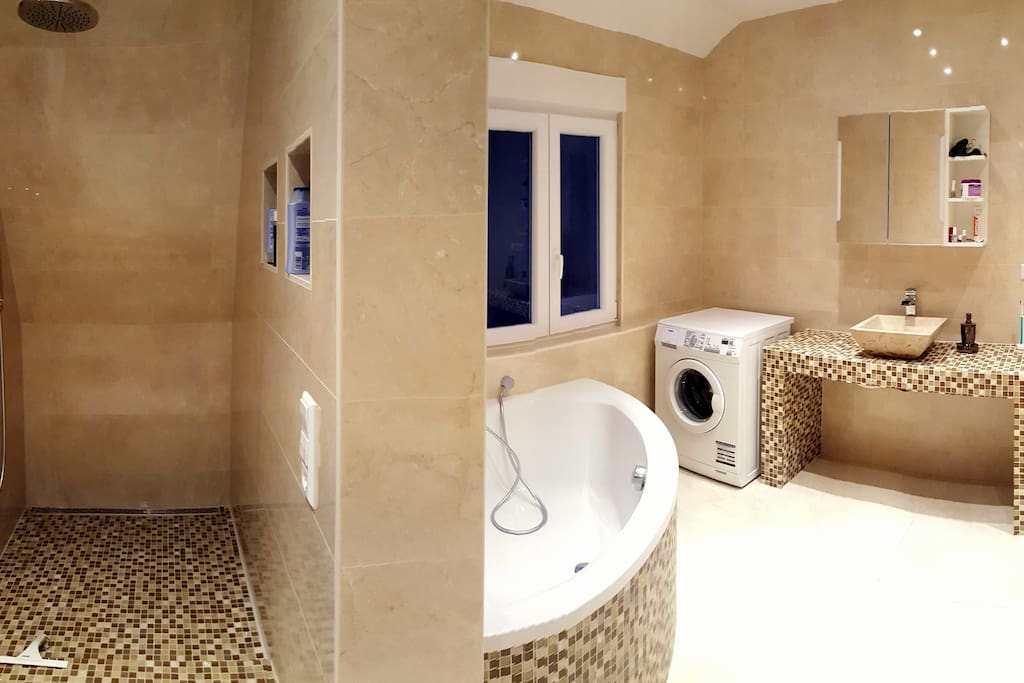 Bathroom with corner bathtub and seperate rainforest shower