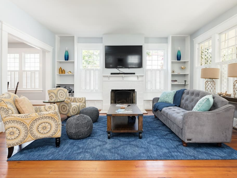 Sleeper Sofa for two and large screen television add to the luxury found in this beautiful room.