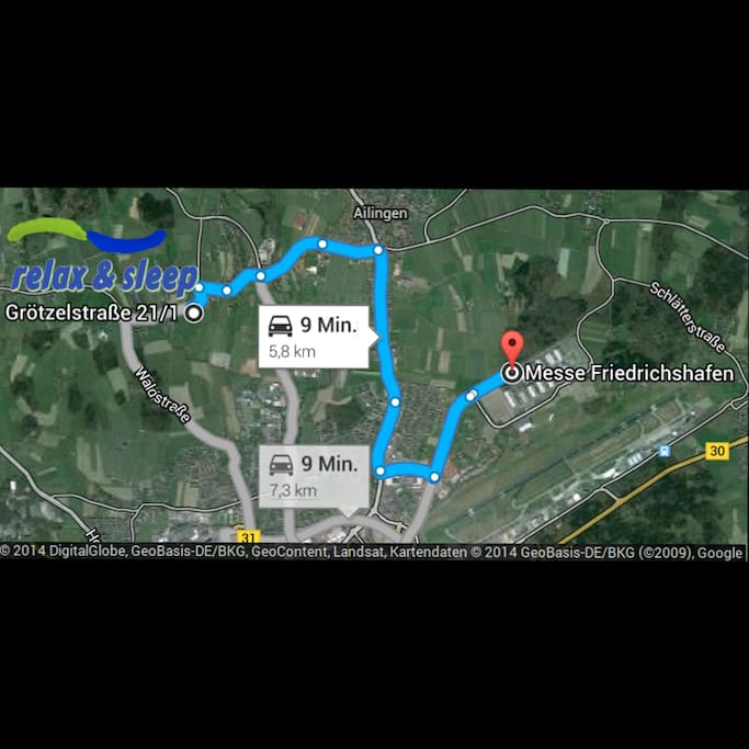 5.8 km or 9min to the exhibition centre by car.