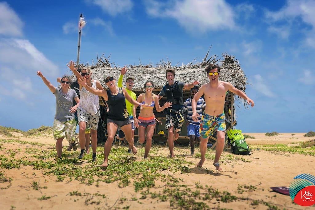 Kite travelers enjoying their stay on the beach