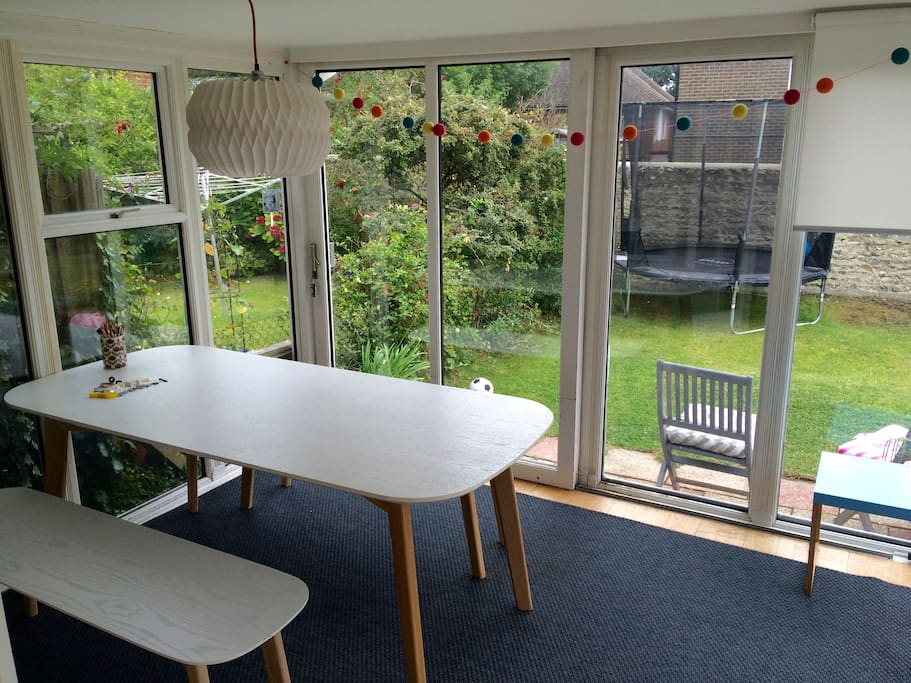 Bright dining space with seating for up to 10 people