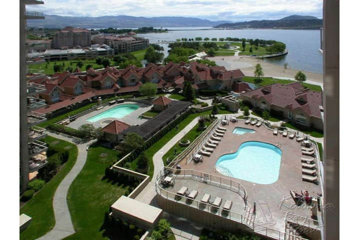 #1203 Sunset Waterfront Resort One Bed Plus Den Lakeview 12th Floor Condo Downtown Kelowna