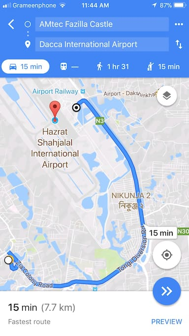 Screenshot Of The Project Location from Hazrat Shahjalal International Airport, Dhaka. Distance 7.7 km in a Oneway Road time Required 15 Minutes.