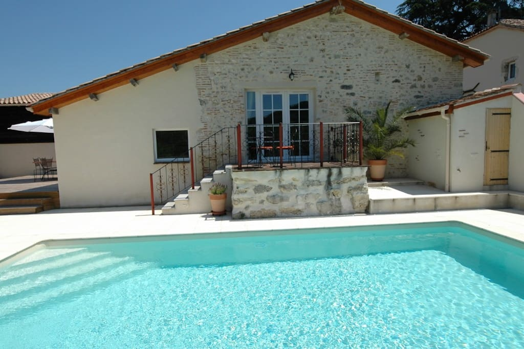 Easy access to the pool from the lounge or dining areas