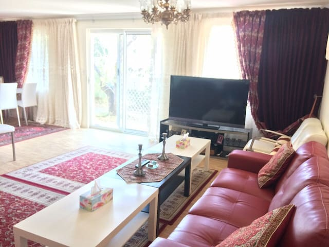 """living room with 55"""" Smart TV with garden view"""