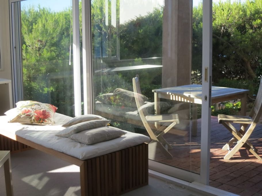 Sunny patio and lounger