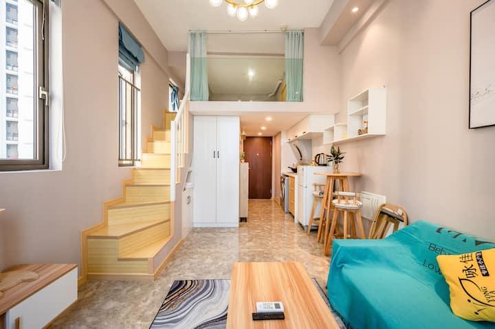 (特舍民宿f1)loft精装温馨有客厅厨房(万达店)