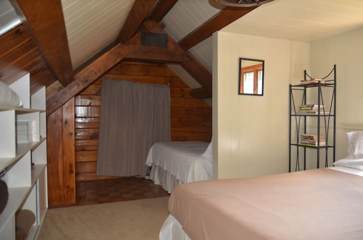 Loft with 3 beds.  Trundle bed is not shown in this photo