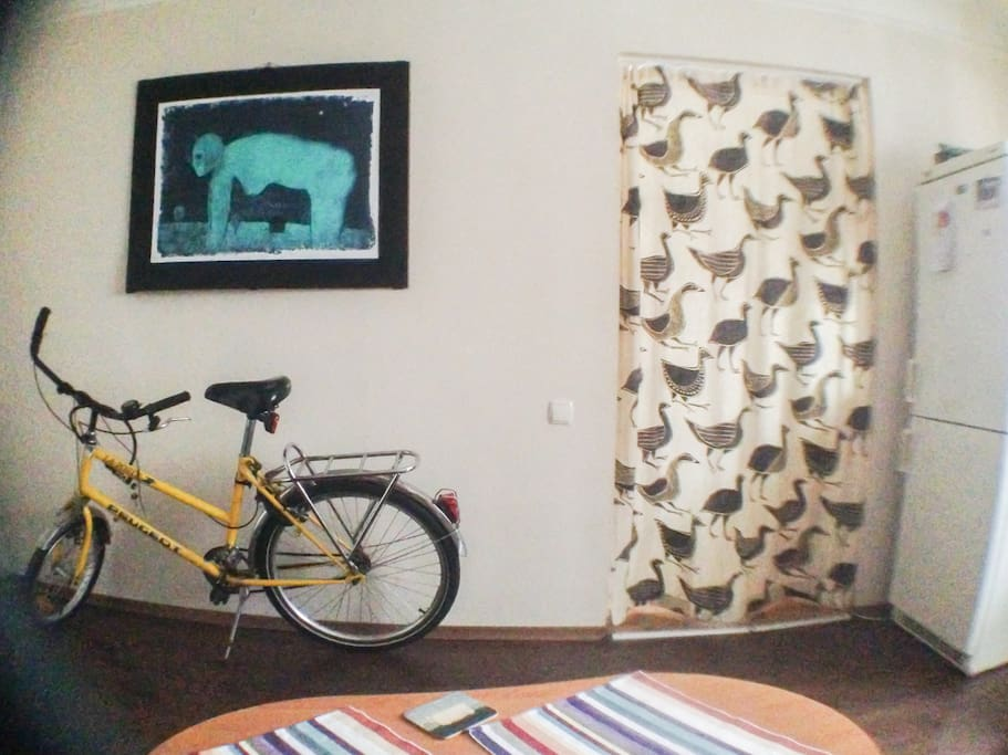 in winter time i keep my bicycle in the room, but it can be removed to the balcony if needed