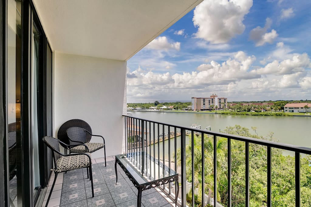 Your private balcony overlooks the Intracoastal Waterway.