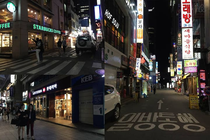 near by streets at night. coffee shops and place to eat all around basecamp.