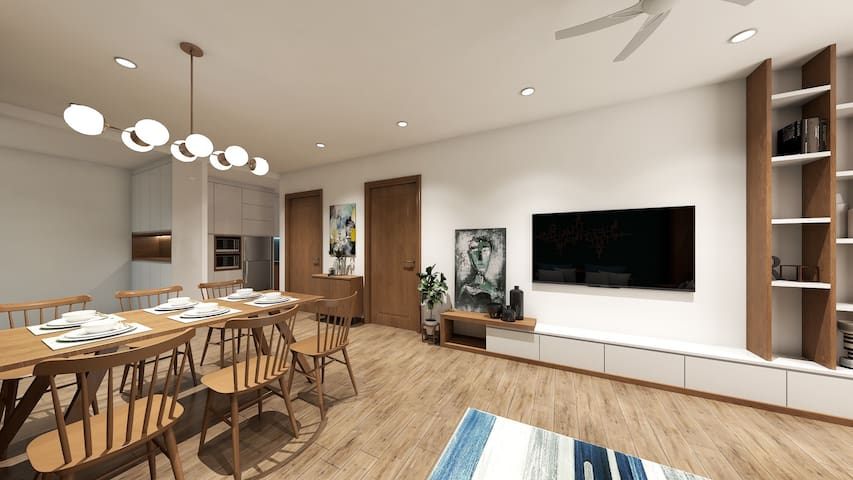 Lake view young style apartment room in Thanh Xuan