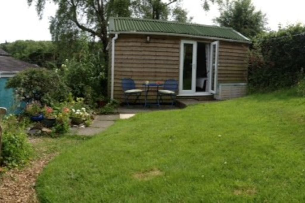 Cabin and the  garden area