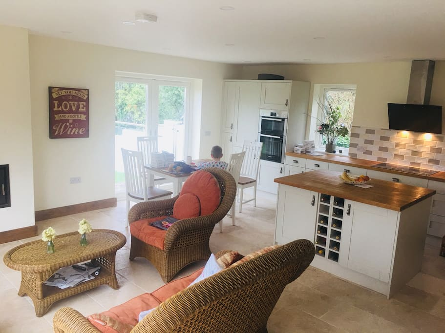 Living area and open plan kitchen