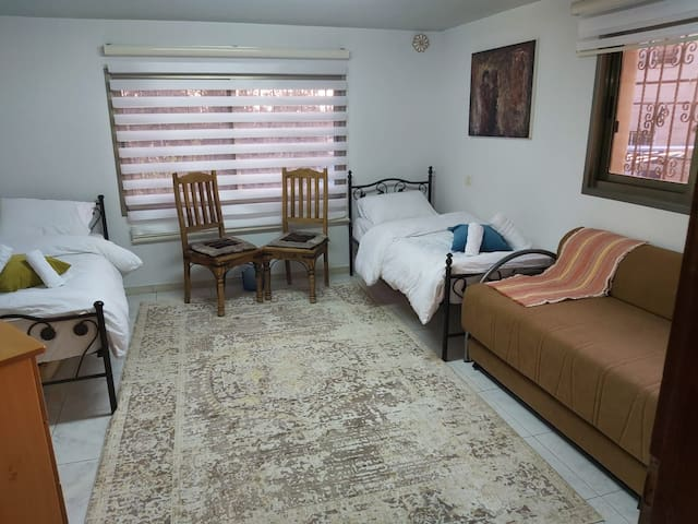 Bed room: two single beds + a sofa bed