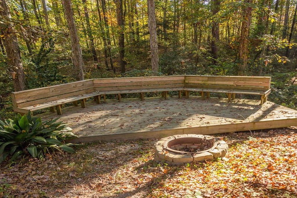 Fire pit overlooking the creek and woods.